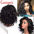 Short Wavy Bob U Part Human Hair Wigs For Black Women Glueless Left Side U Part Bob Wig Virgin Brazilian Hair