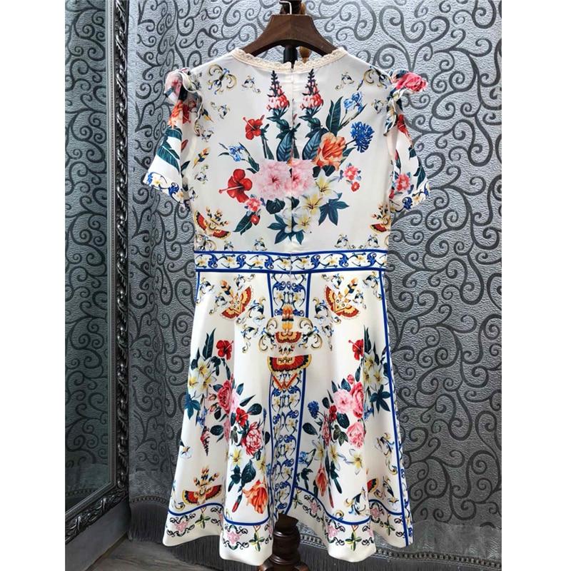 SEQINYY Mini Kleid 2019 Sommer Neue Mode Design Hohe Qualität Kurzarm Verstärktes Spitze Appliques Blumen Gedruckt Weiß Kleid-in Kleider aus Damenbekleidung bei  Gruppe 2