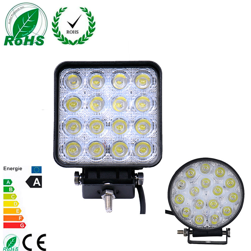 10 Pcs 48W Led Car Spot Worklight Lamp Truck Motorcycle Off Road Fog Lamp Tractor Car LED Headlight Driving Light Square/Round