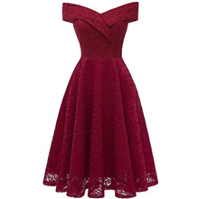 Womens Off The Shoulder Short Sleeve High Low Cocktail Skater Dress lace Elegant party Vestidos the Women vintage Dresses