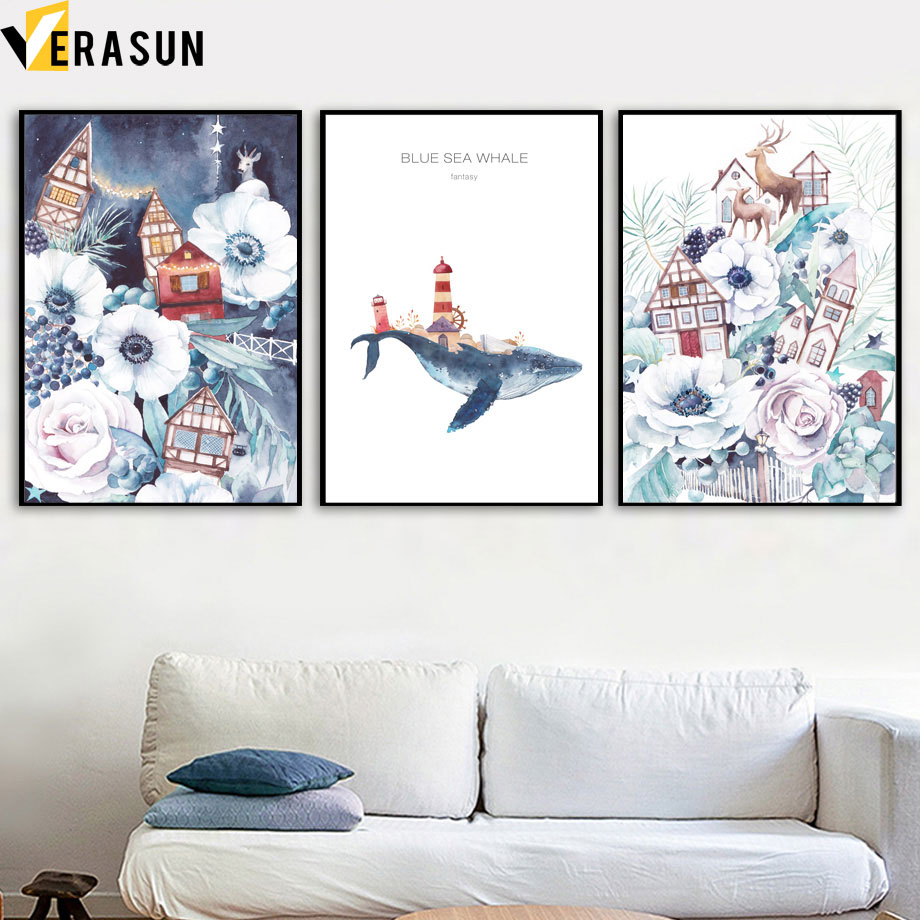 Watercolor Flower Leaf House Deer Whale Nordic Posters And Prints Wall Art Canvas Painting Pictures For Living Room Decor