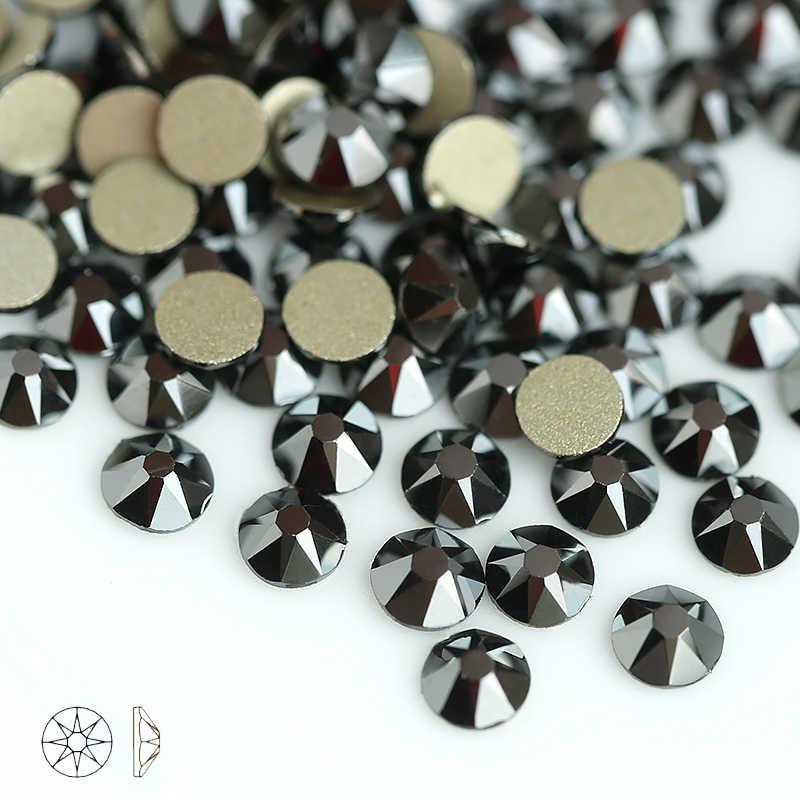 Jet hematite 8 Big 8 Small SS16-SS30 Crystal Glass Rhinestone For Clothes  2088 Non cc518924f1e5