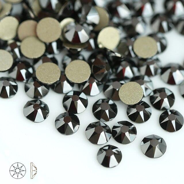 Jet hematite 8 Big 8 Small SS16-SS30 Crystal Glass Rhinestone For Clothes  2088 Non-hotfix Flatback Rhinestones For Nail Stone 1246b610dda8