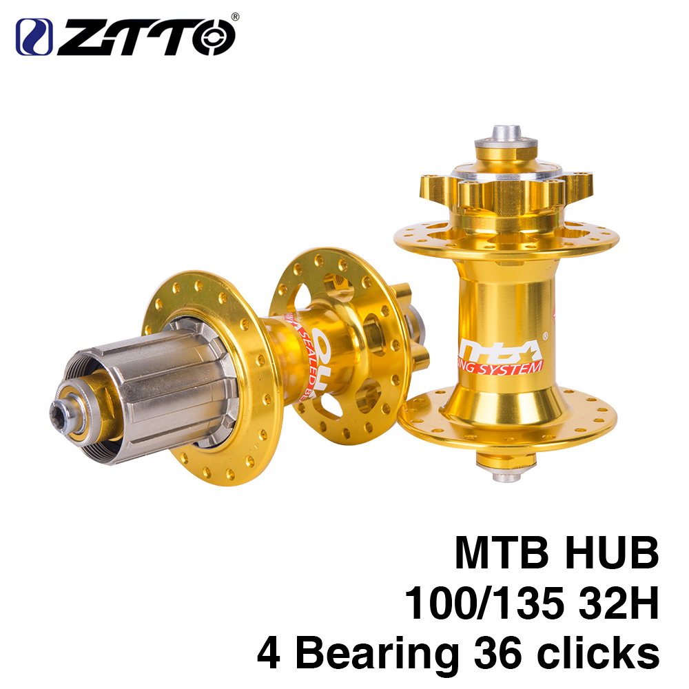 ZTTO 1 Sets MTB Mountain <font><b>Bike</b></font> Hub <font><b>Disc</b></font> <font><b>Brake</b></font> Front Rear Bearing Hubs 32H Hole 36 Clicks and Bicycle Skewer 100/135mm Gold Steel