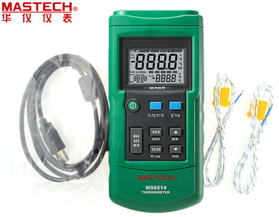 Dual Channel Digital Thermometer Temperature Logger Tester USB Interface 1000 Sets Data KJTERSN Thermocouple MASTECH MS6514 ms6514 dual channel digital thermometer temperature logger tester usb interface 1000 sets data kjtersn thermocouple with box