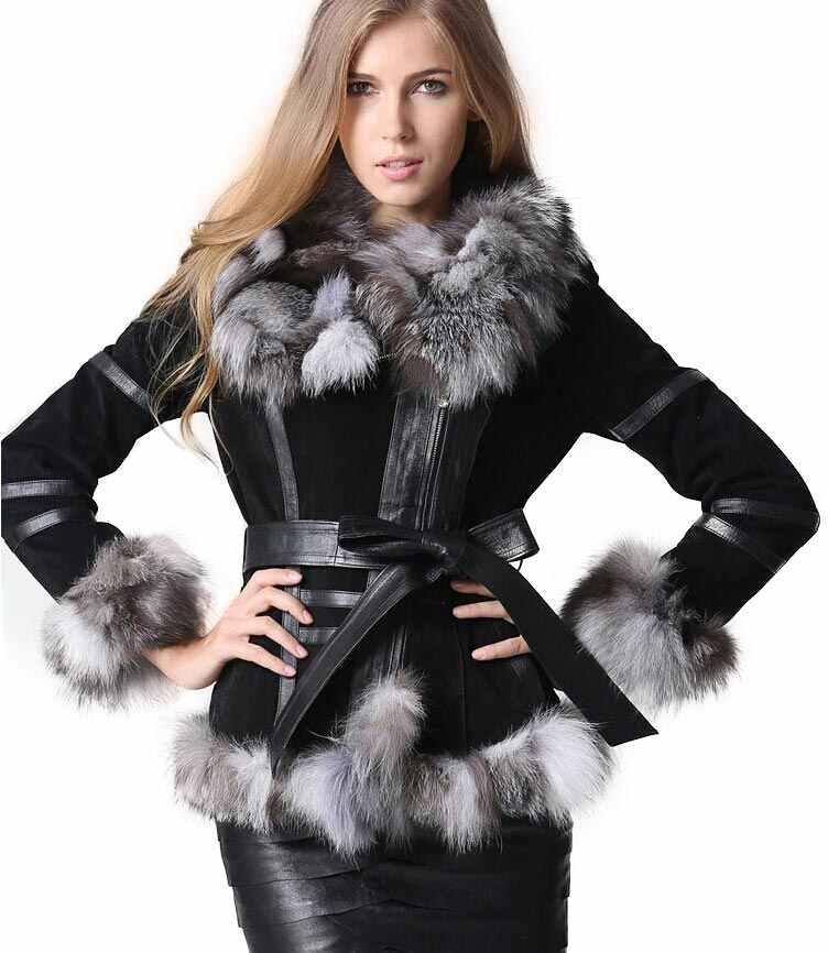 87f08dcec5b3a Winter Women s Real Fur Coats Moto   Biker Genuine Leather Coat Fox Fur  Collar Plus Size