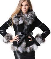 Зимние женские пальто из натурального меха, байкерские пальто из натуральной кожи, меховые куртки с лисьим воротником, большие размеры, жен
