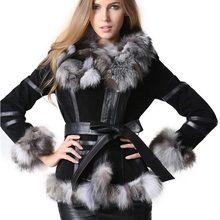 Winter Women's Real Fur Coats Moto & Biker Genuine Leather C