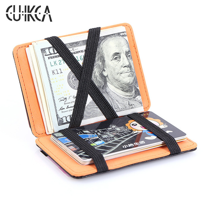 CUIKCA Korean Version Magic Wallet Money Clips Women Men Purse Wallet Ultrathin Carteira Slim Leather Wallet ID Credit Card Case
