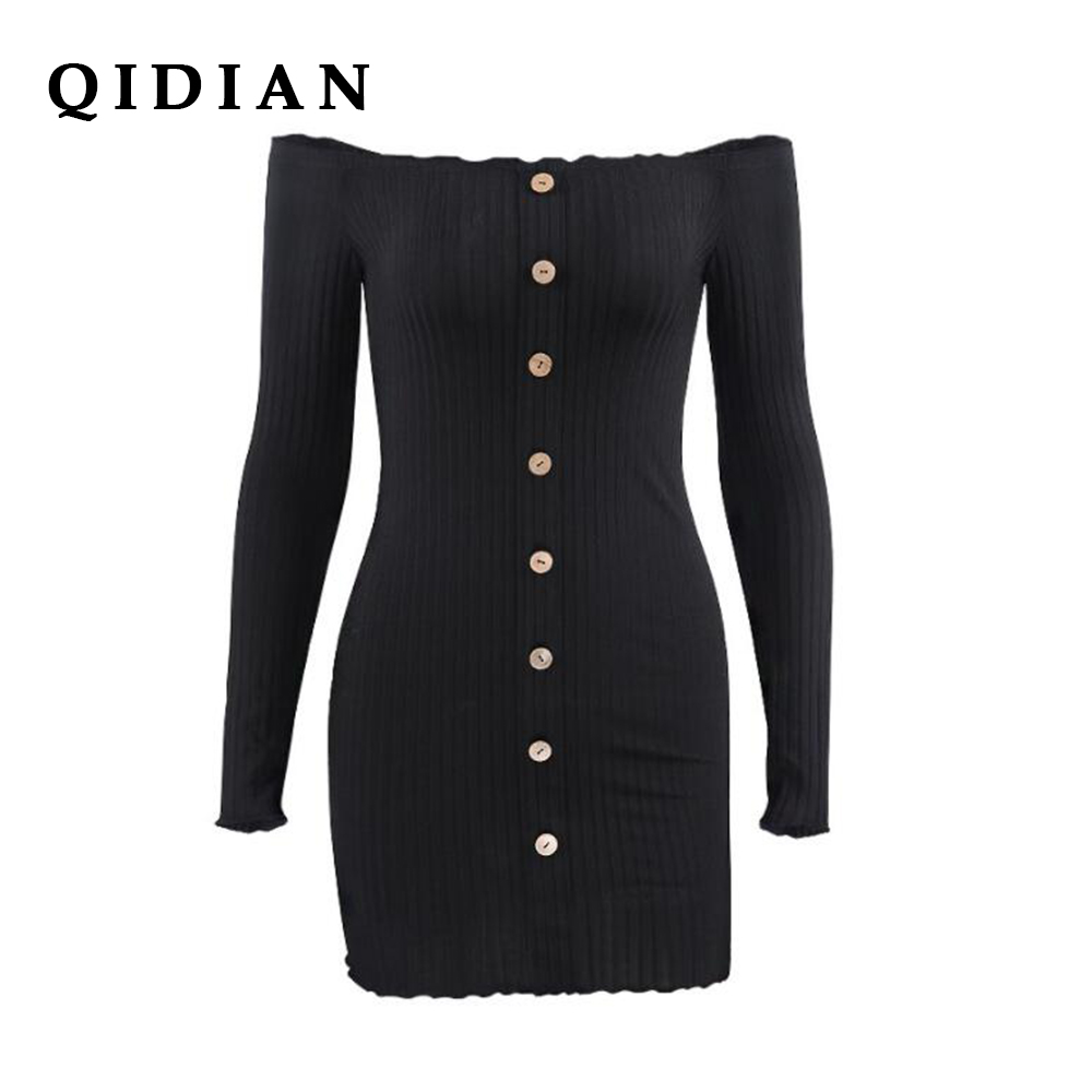 QI DIAN 2018 Real Full Polyester Spandex Solid Dress Autumn And Word Wrapped Chest Long Sleeve Bag Hip Dress New Women I-96