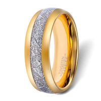 Mens Gold Kleur Meteoriet Patroon Koolstofvezel Wolfraam Ring Natuurlijke Wolfraamcarbide Wedding Band 8mm Breed Koepelvormige Afwerking