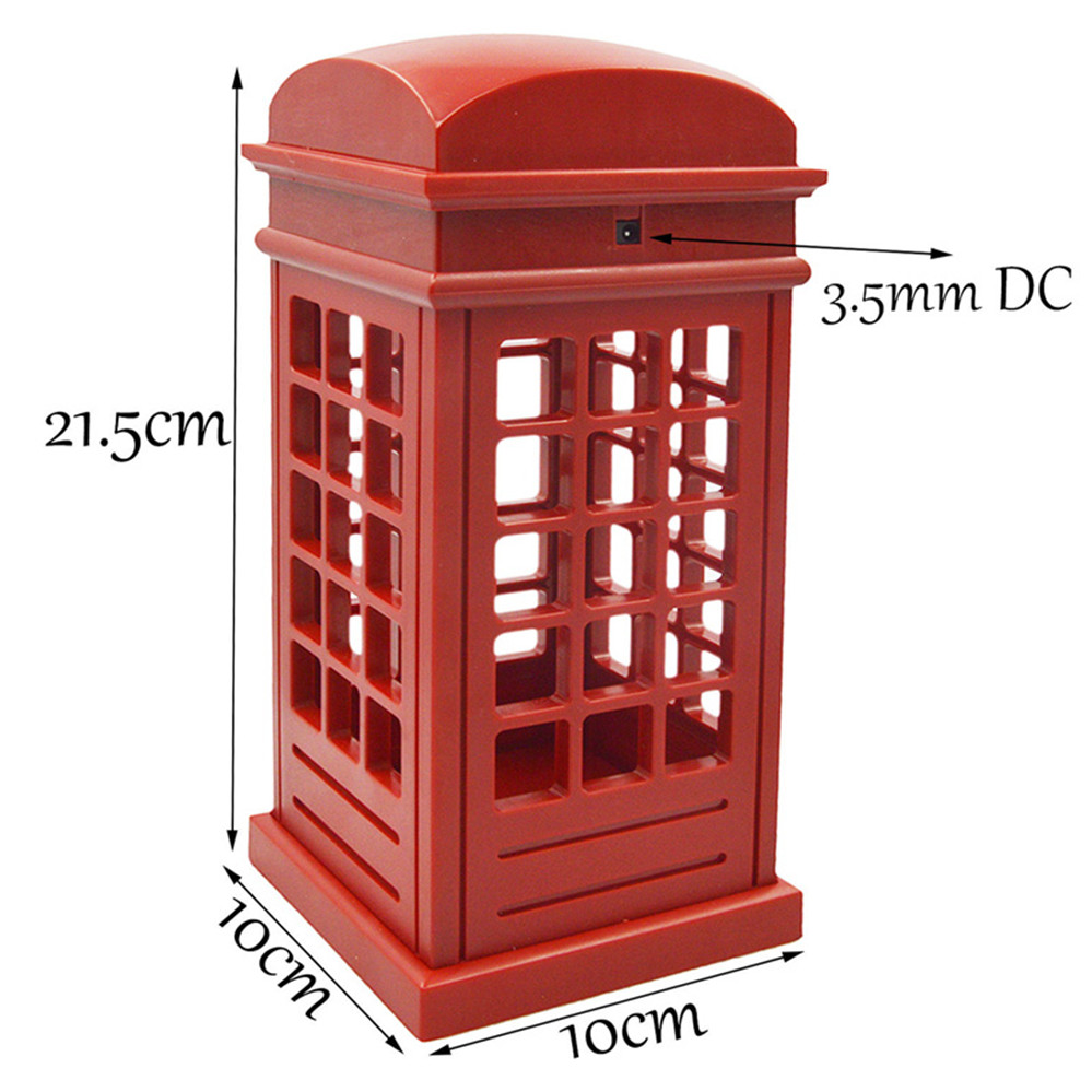 Hot Sale Adjustable Retro London Telephone Booth Night Light USB Battery Dual-Use LED Bedside Table Lamp