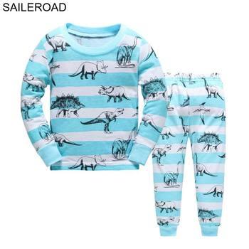 SAILEROAD Cartoon dinozaur chłopiec piżamy garnitury jesienno-zimowy strój na noc bawełna dziecięca piżama bielizna nocna dziecięca bielizna nocna tanie i dobre opinie spandex COTTON O-neck Chłopcy Pełna REGULAR #2T 3T 4T 5T 6T 7T 8T Pasuje prawda na wymiar weź swój normalny rozmiar
