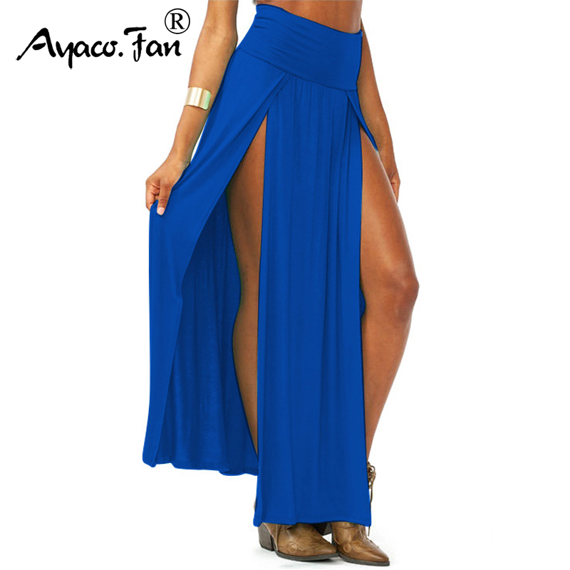 2018 New Lady 8 Candy Colors High Waist Skirt Double Side Split Long Sexy Skirts Women Big Opening Ankle-Length Skirts Free Size