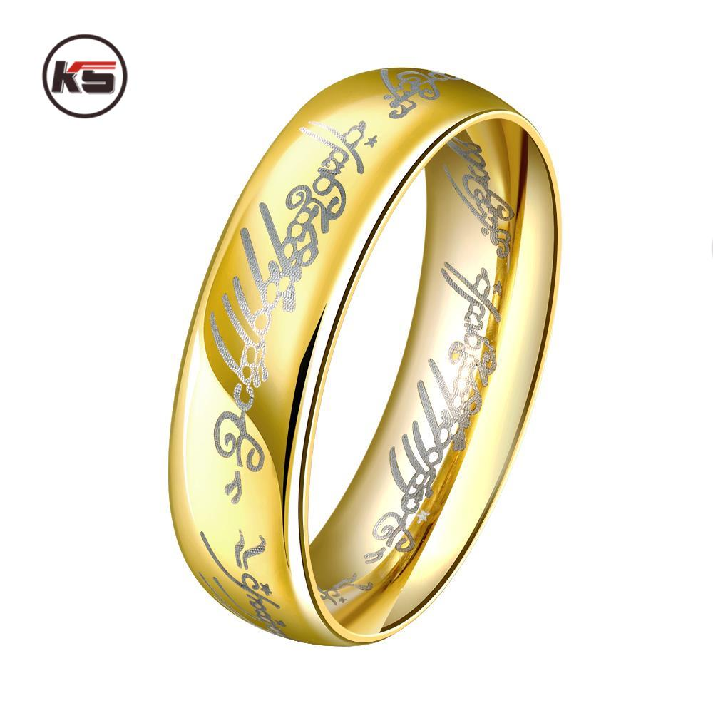 6mm vintage finger rings the lord of one ring lotr titanium steel fashion couple for lovers - Lord Of The Rings Wedding Ring