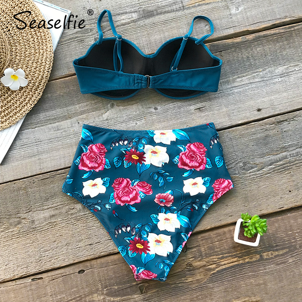 SEASELFIE Blue Floral High Waist Bikini Sets Women Sexy Moulded Cup Push Up Two Pieces Swimsuits 2020 Girl Beach Bathing Suit 1