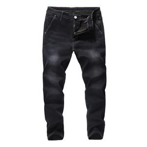 Image 5 - 2020 جديد الرجال جينز علامة تجارية فضفاض مستقيم مطاطا مكافحة سرقة سستة الدنيم السراويل الذكور حجم كبير 40 42 44 46 48