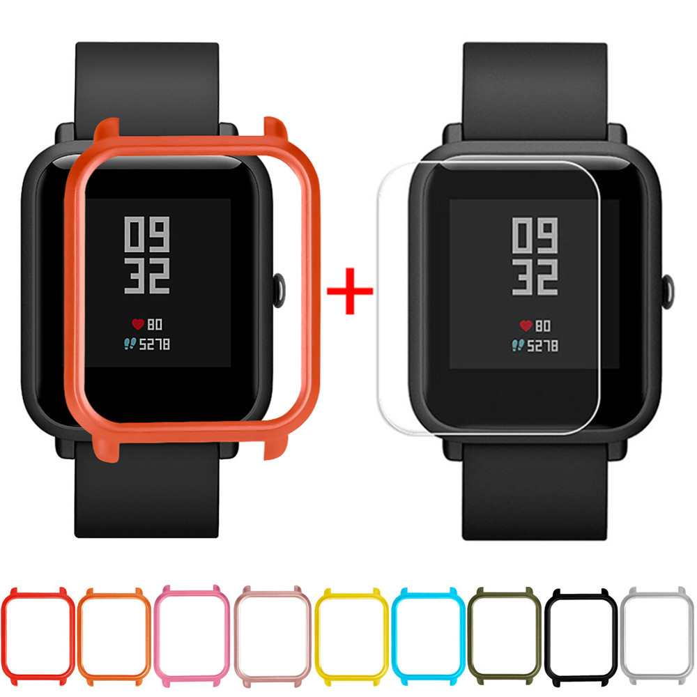 Screen Protector Slim Colorful Frame PC Case Cover Protect Shell For Huami Amazfit Bip Younth Watch with Screen Protector  L0321(China)