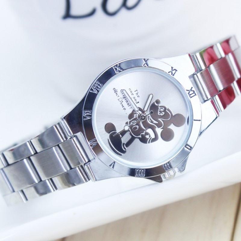 New Arrival Luxury Brand Mickey Minnie Watch Fashion Silver Students Wristwatch Full Steel Women's Dress Watches Saat Relogio