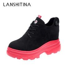цены на 2019 Autumn Women Ankle Boots Flock Lace-up 8CM Heels Casual shoes Thick Heel Suede Women Winter Sneakers Booties Botas Mujer в интернет-магазинах