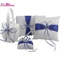 4Pcs Set Red Satin Ring Pillow Flower Basket Guest Book Pen Set Wedding Decoration Bridal Wholesales