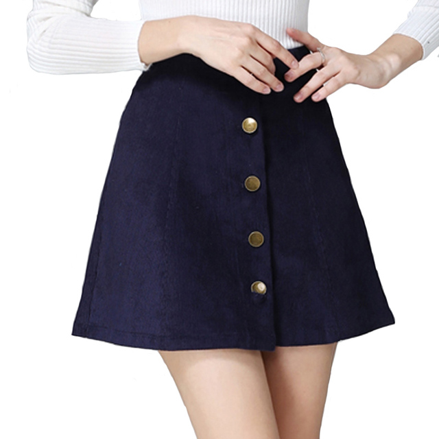 2017 осень vintage мода вельвет высокая талия сексуальная мини-юбки зима короткие line юбки черный серый случайные юбки a802