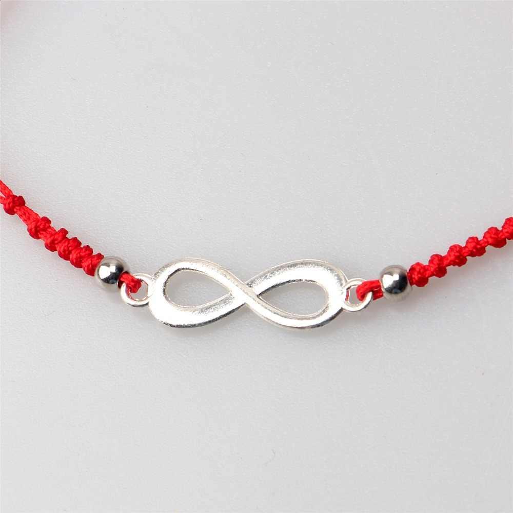 ロマンチックなデュアル層手作り赤糸お守り列無限大チャームチェーンブレスレット女性友情ドロップシップ