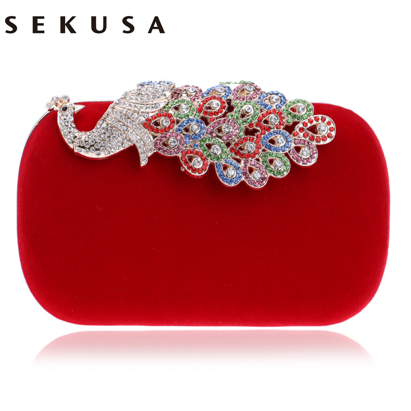 SEKUSA  Women Evening Bags Diamonds Metal Peacock Day Clutches Purse Chain Shoulder Messenger Small Cross Body Purse Bags sekusa flower rhinestones women handbags red black purple gold chain shoulder bags metal day clutches purse wedding wallets