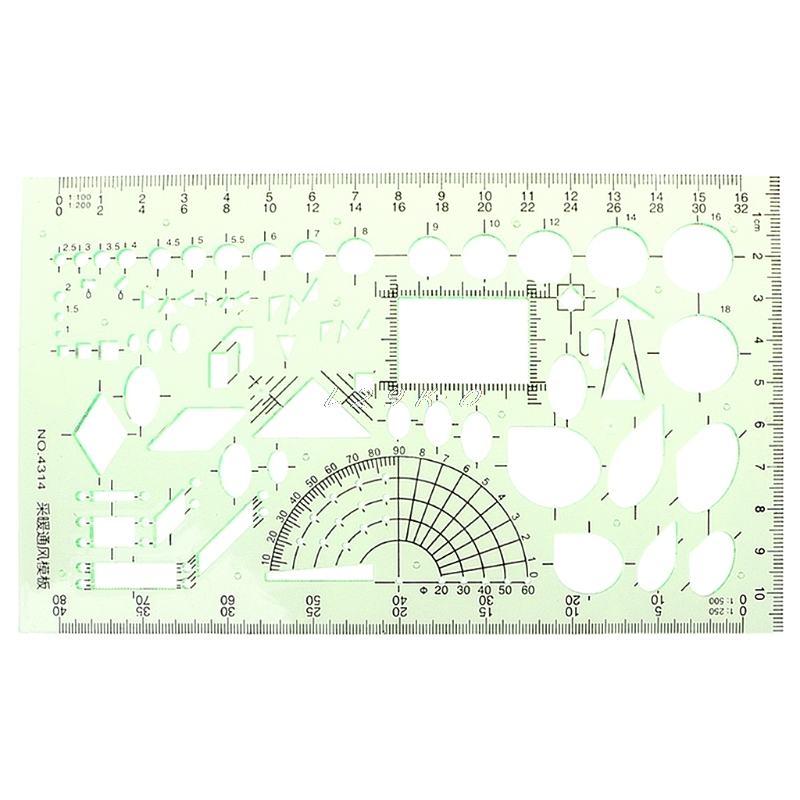 Plastic Ruler Rectangle Circle Shape Geometric Drawing Template Ruler Student Stationery School Accessories
