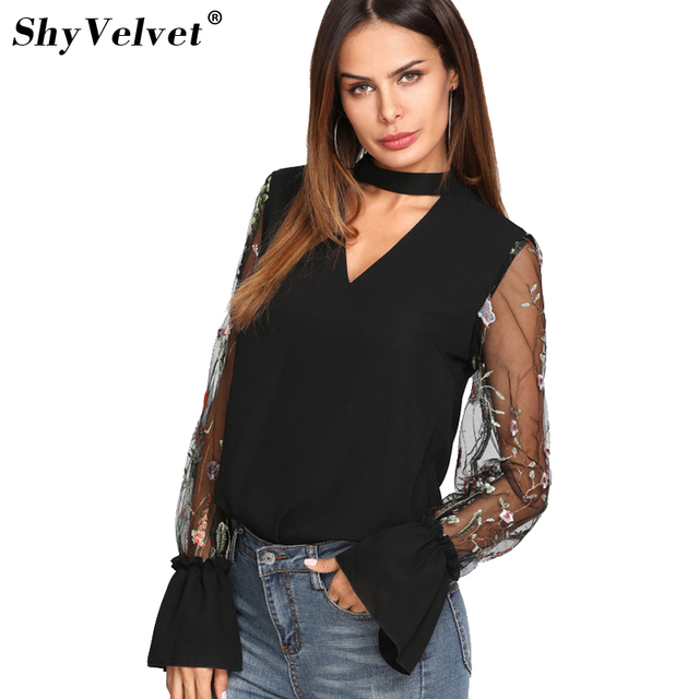 63f5bf9034a080 2018 Summer V Neck Floral Blouse Women Tops Embroidered Mesh Sleeve Choker  Neck Blouse Black Long