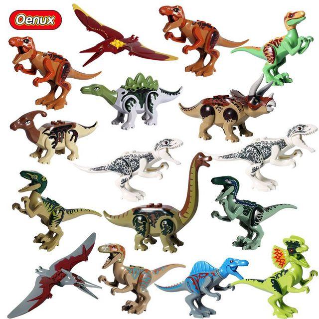 Oenux Novo Modelo Figuras Building Block Brachiosaurus Dinossauro do Jurássico Tiranossauro Dinossauro Mundo de Tijolos de Brinquedo Crianças Brinquedo