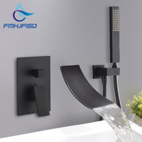 Bathroom Set Chrome Polished Bathtub Faucet ORB Bath Shower Faucet Bathtub Tap Mixer Water In Wall Waterfall Faucet Concealed
