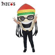 JYZCOS Adult Inflatable Jamaican Costume Halloween Carnival Party Cosplay Women Men Disguise Fantasy Dress