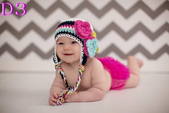 Cute Newborn Baby Crochet Flowers Stripe hat Christmas Beanie Hat Girl New Gift Photography