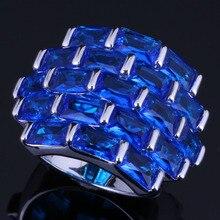 Ravishing Big Rectangle Blue Cubic Zirconia 925 Sterling Silver Ring For Women V0537