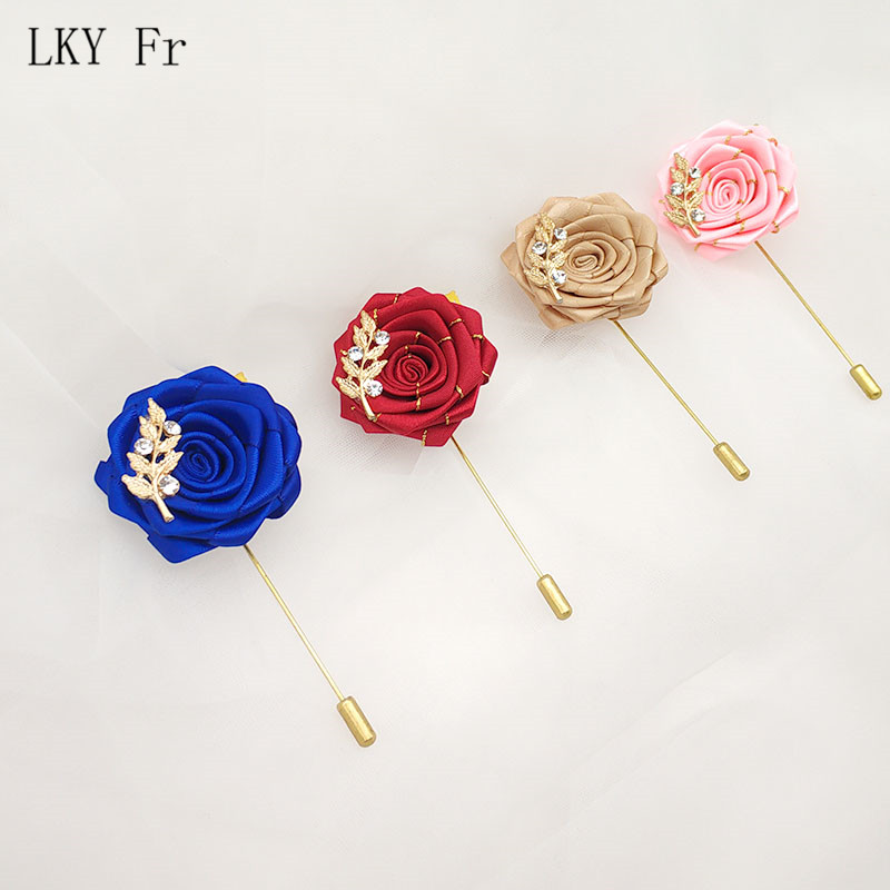 LKY Fr Boutonniere Buttonhole ManCorsage Pins Groom Boutonniere Men Wedding Witness Rhinestone Wedding Boutonniere Flowers Prom