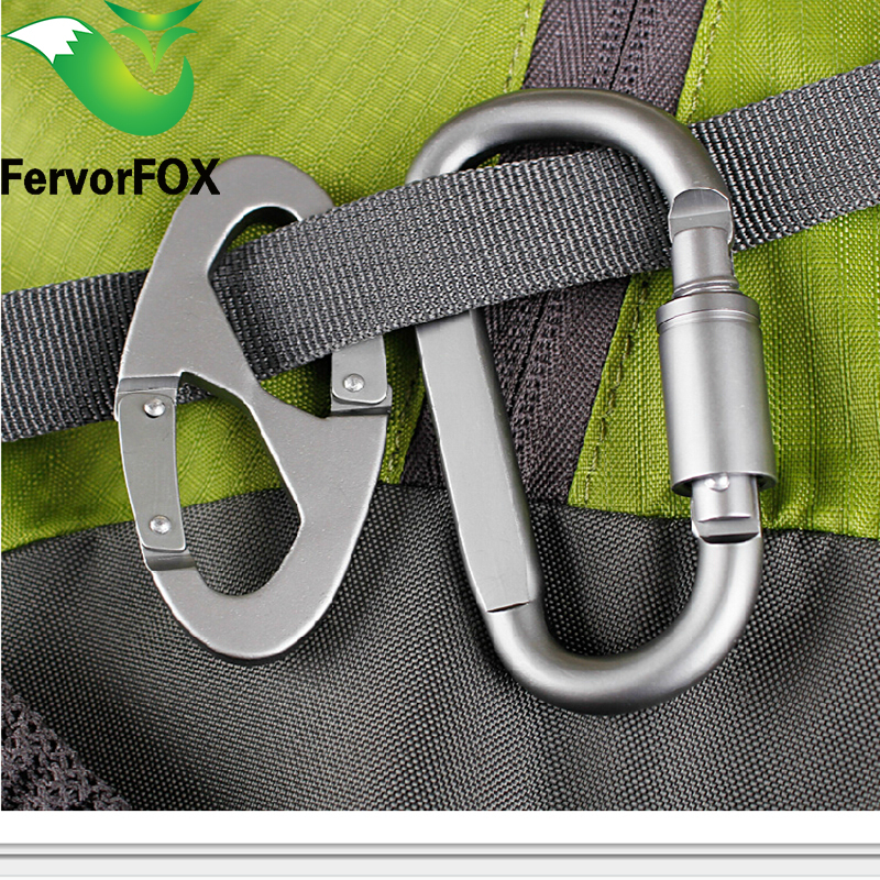 Aluminum Alloy D And 8 Shape Climbing Carabiner Screw Lock Bottle Hook Buckle Hanging Padlock Keychain Camping Hiking