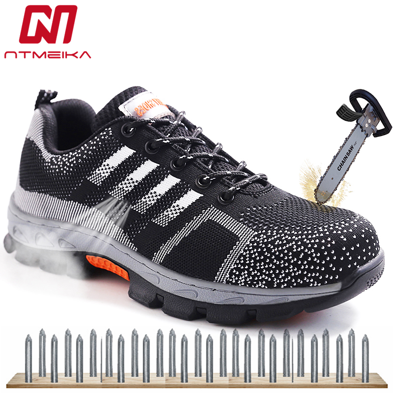 Big Size 36-46 Men Safety Shoes Steel Toe Safety Boots Breathable Casual Work Shoes For Men Lace Up Puncture-proof Work Boots unisex safety shoes with steel toe cap working shoes men casual breathable mesh work safety boots puncture proof security boots