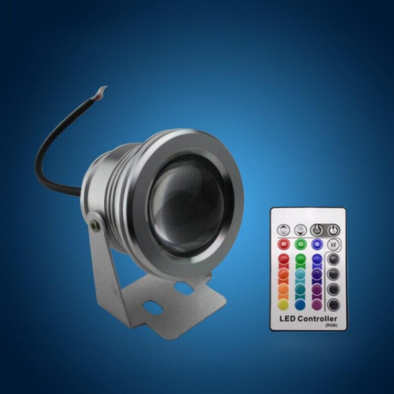 10 Watt 12 v unterwasser RGB Led-Licht 1000LM Wasserdicht ip68-brunnen-pool Lampe 16 farbwechsel mit 24key IR fernbedienung