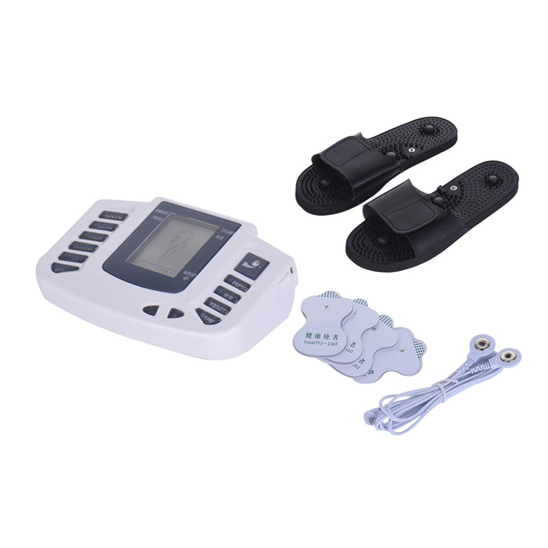 New Electroestimulador Muscular Body Relax Muscle Massager Pulse Tens Acupuncture Therapy Slipper+ 4 Electrode Pads Health Care