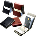 Fashion 2Colors Black Brwon Men Slim Money Clip Leather Billfold Stainless Steel Clips Luxury Men Wallets 15 Card slot
