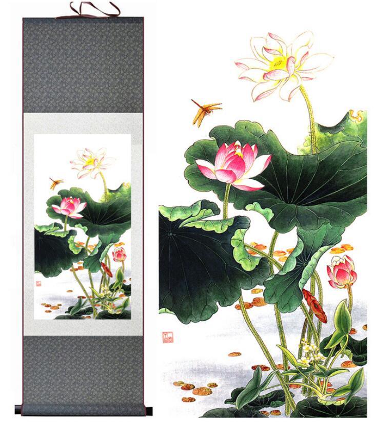 Bunga Teratai Pictureprinted Tradisional Seni Cina Lukisan Tinta