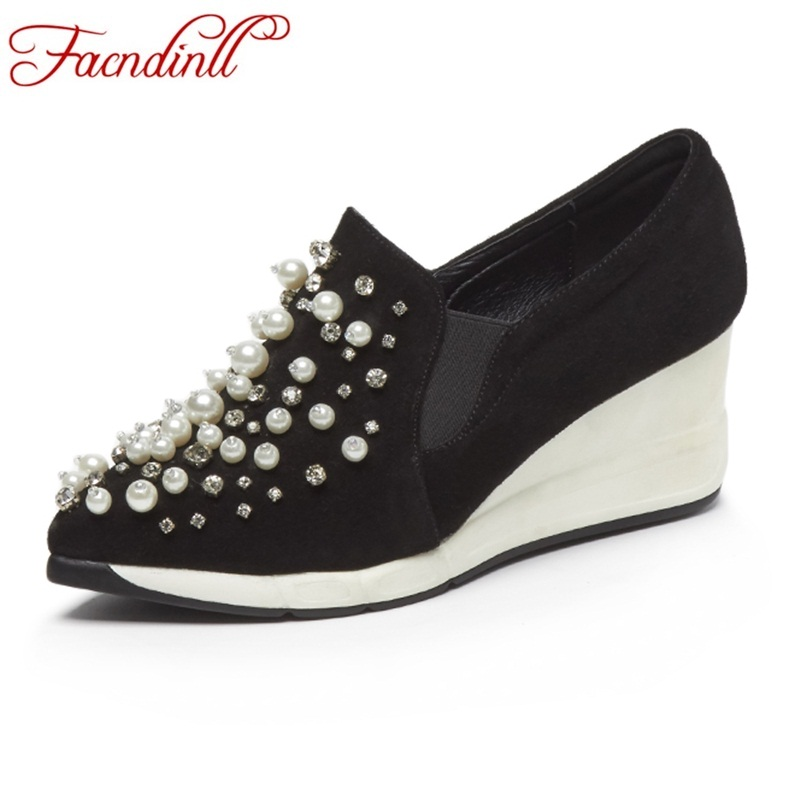 FACNDINLL new 2018 fashion spring women casual shoes wedges high heels pointed toe shoes woman black dress casual pumps shoes facndinll 2018 spring women pumps shoes med heels pointed toe rivets patent leather rome style shoes woman casual shoes pumps