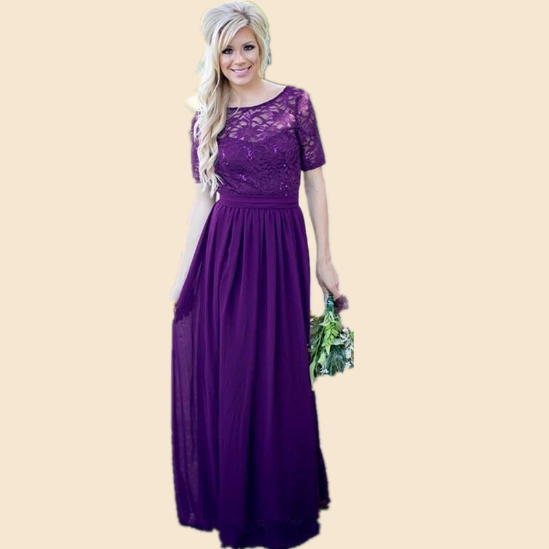 Vestido Madrinha Purple Bridesmaid Dresses Short Sleeves Long Chiffon Lace Body Wedding Formal Wear Maid Of Honor Party Gown In From