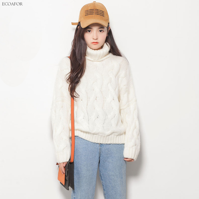 Warm Turtleneck Sweater For Women Pure Solid Color Twist Cable Knit
