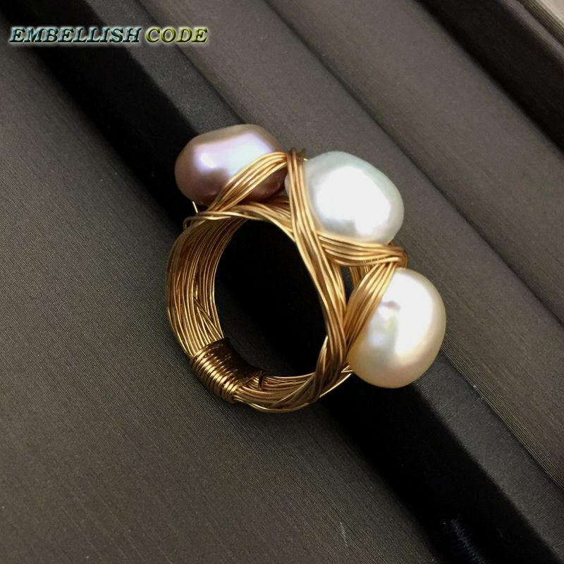 NEW Designer Bird nest style small size baroque pearls with golden Wire hand make ring