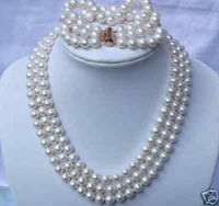 Selling Jewelry>>>3 strands white GENUINE NATURAL freshwater pearl necklace bracelet set USA EUB