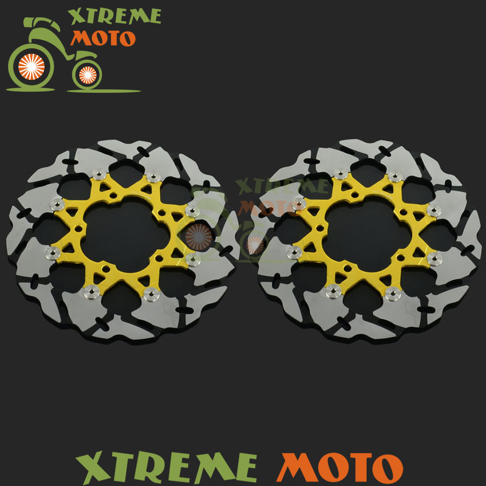 2Pcs Gold Motorcycle Front Floating Brake Disc Rotor For VZR1800 Intruder M1800 GSXR 600 750 1000 GSXR600 GSXR750 GSXR1000 keoghs real adelin 260mm floating brake disc high quality for yamaha scooter cygnus modify