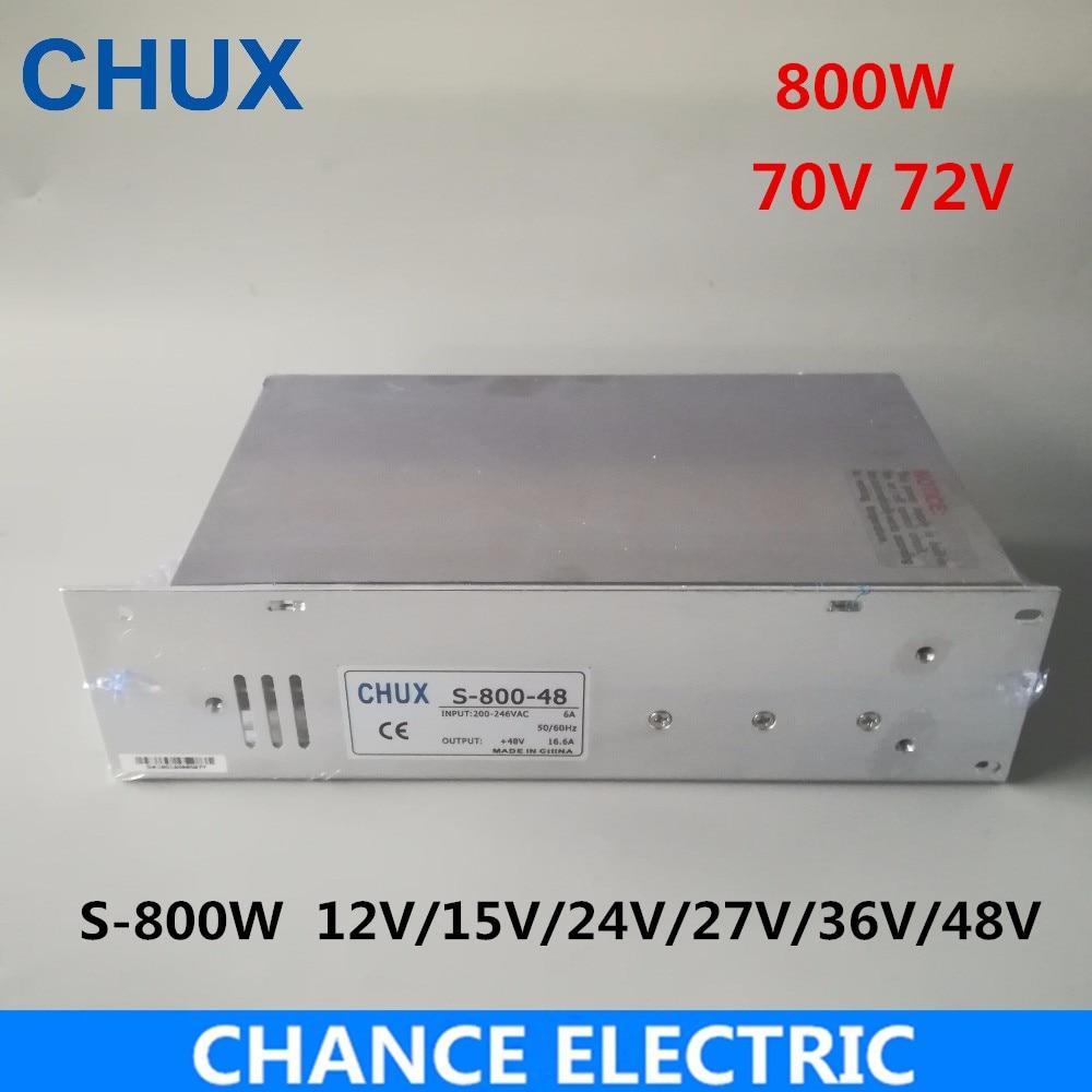 CHUX ac-dc Power Supply 800W 70V 48V AC DC Converter 220v 110V LED Driver DC15V 12V 24V 36V 72V Switching Power Supply For Led new model ac dc power supply 12v 66a 800w ac dc converter 220v 110v led driver dc12v switching power supply for led light cctv
