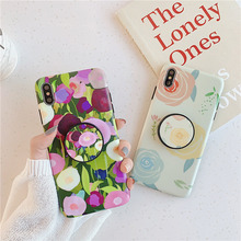 Floral folding stand case for iphone7 8plus 7plus beauty flower case for iphone 7 8 6 6s plus x xs max xr grip holder soft cover цена и фото